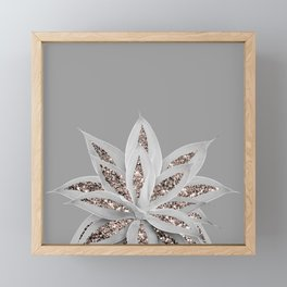 Gray Agave with Rose Gold Glitter #1 #shiny #tropical #decor #art #society6 Framed Mini Art Print
