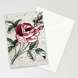 Shabby chic vintage rose and calligraphy Stationery Cards
