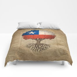 Vintage Tree of Life with Flag of Chile Comforters