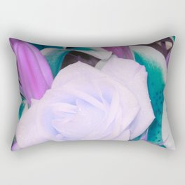 Lavender Teal Flowers Rectangular Pillow
