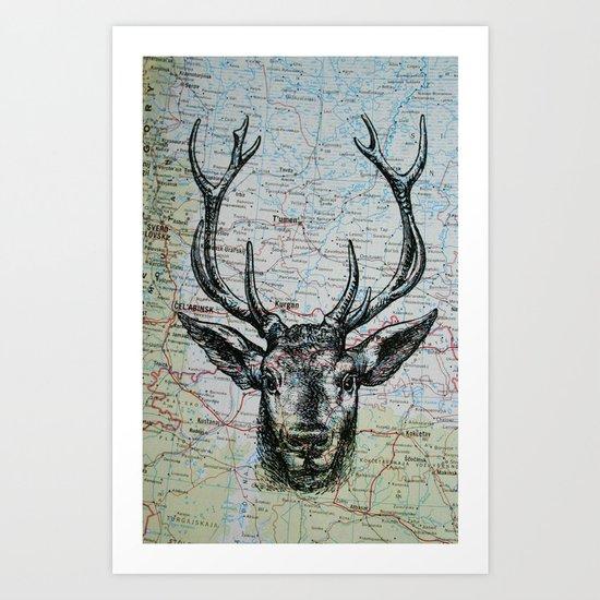 Russian Deer Art Print