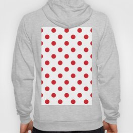 Polka Dots - Fire Engine Red on White Hoody