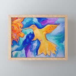 Watercolor Sun Bird Modern Fine Art Painting by Garden Of Delights Framed Mini Art Print