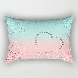 Summer Vibes Glitter Heart #1 #coral #mint #shiny #decor #art #society6 Rectangular Pillow