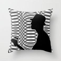 Bass Guitar Player Silhouette B/W Throw Pillow