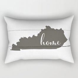 Kentucky is Home - Charcoal on White Wood Rectangular Pillow