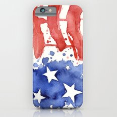 American Flag Watercolor Abstract Stars and Stripes Slim Case iPhone 6