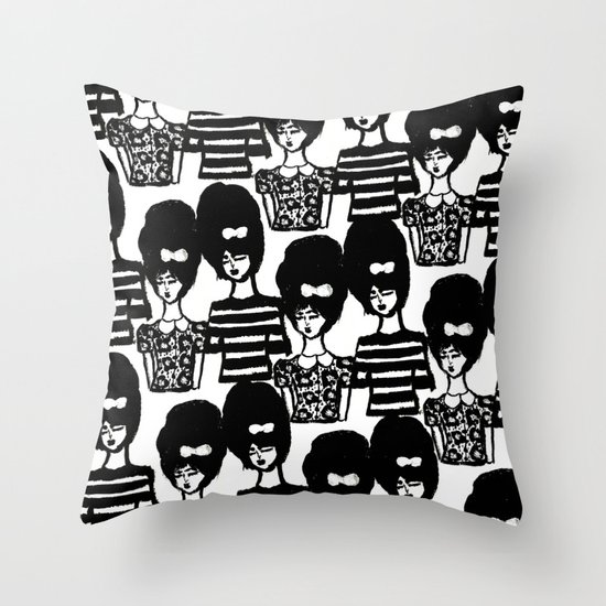 Bouffant Girls Throw Pillow