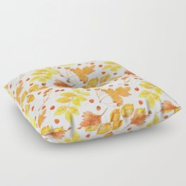 Watercolor autumn leaves seamless pattern on white background. Maple leave, hawthorn leave, birch le Floor Pillow