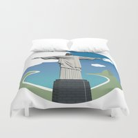 christ Duvet Covers featuring Christ the Redeemer by Thalia May
