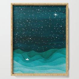 Starry Ocean, teal sailboat watercolor sea waves night Serving Tray