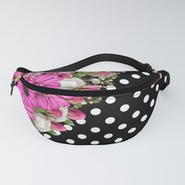 Black and White Polka Dots and Pink Flowers Fanny Pack