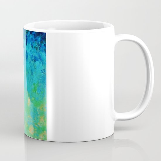 TRUE REFLECTION - Ocean Water Waves Ripple Light Impressionist Bright Colors Ombre Painting Mug
