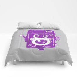 Big Vintage Camera Love - Purple on Grey Background Comforters