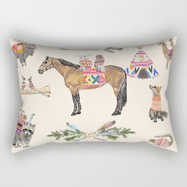 Family with horse, fox, rabbit, owl Rectangular Pillow