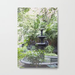 New Orleans Cafe Fountain Metal Print