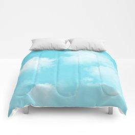Aqua Blue Clouds Comforters
