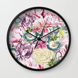 Vintage & Shabby chic -  Retro Spring Flower Pattern Wall Clock
