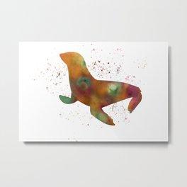 Seal in watercolor Metal Print