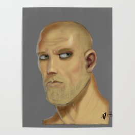 First Male Digital Portrait Painting Poster