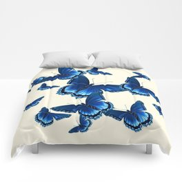 DECORATIVE PATTERNED BLUE  BUTTERFLY FLOCK Comforters