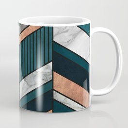 Abstract Chevron Pattern - Copper, Marble, and Blue Concrete Coffee Mug