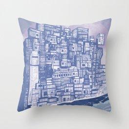 Silver over Sepiantida / Indigo Throw Pillow