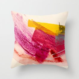 Pink Lemonade: a minimal, colorful abstract mixed media with bold strokes of pinks, and yellow Throw Pillow