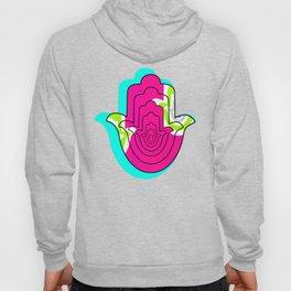 Blue Pop Art and Pink Hamsa Hand Hoody