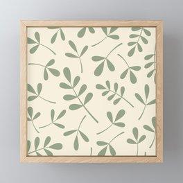 Green on Cream Assorted Leaf Silhouettes Framed Mini Art Print