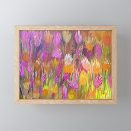 Field of Flowers in Yellow and Pink Framed Mini Art Print