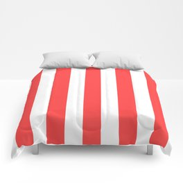 Coral red - solid color - white vertical lines pattern Comforters