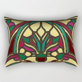 Victorian Stained Glass in Gold and Maroon Rectangular Pillow