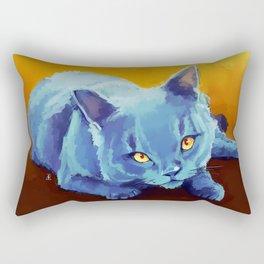 Blue Cat Rectangular Pillow