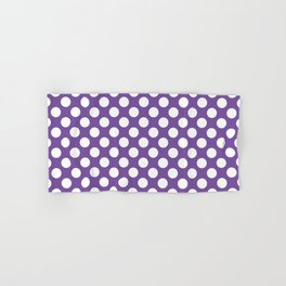 White Polka Dots with Purple Background Hand & Bath Towel