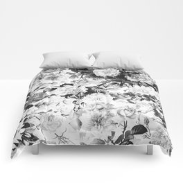 Black gray modern watercolor roses floral pattern Comforters
