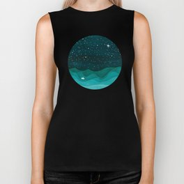 Starry Ocean, teal sailboat watercolor sea waves night Biker Tank