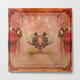 Decorative dragon with floral elements Metal Print