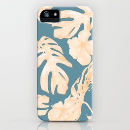 Island Vacay Hibiscus Palm Leaf Coral Teal Blue iPhone Case
