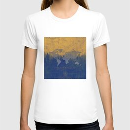 world map wanderlust forest yellow T-shirt