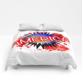 America Red White And Blue Cartoon Exclamation Comforters