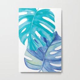 Mostera Leaf Garden Watercolor Art Metal Print