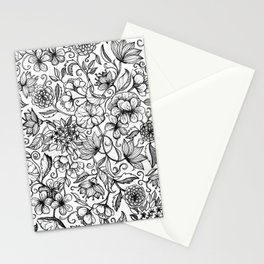 Hand drawn pencil floral pattern in black and white Stationery Cards