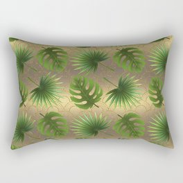 Tropical Leaves Gold Great Gatsby Rectangular Pillow