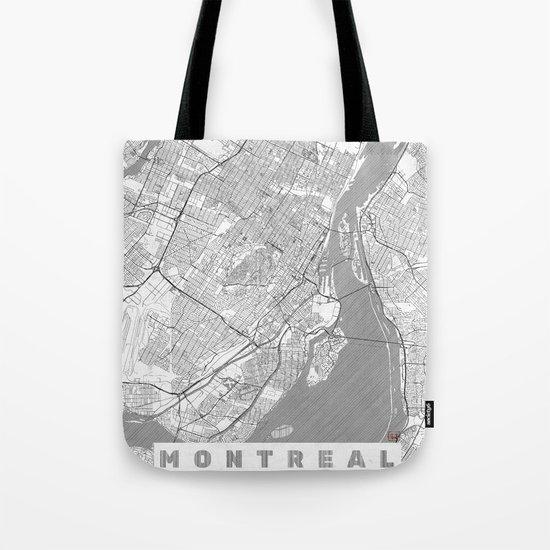 Montreal Map Line Tote Bag