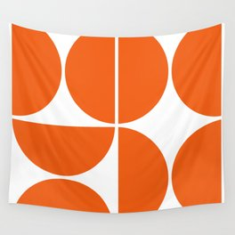 Mid Century Modern Orange Square Wall Tapestry