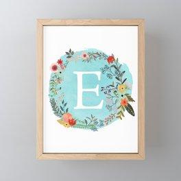 Personalized Monogram Initial Letter E Blue Watercolor Flower Wreath Artwork Framed Mini Art Print