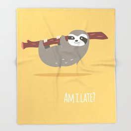 Sloth card - Am I late? Throw Blanket