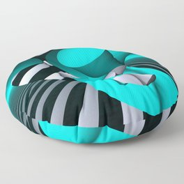 polynomials - turquoise and opart Floor Pillow