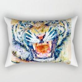 Angry Tiger Watercolor Close-up Rectangular Pillow